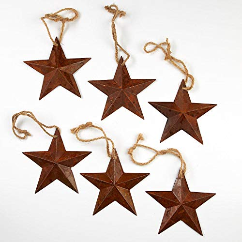 Rusty Ornament Star - Factory Direct Craft Primitive Rusty Tin Barn Stars | Package of 6 Pieces