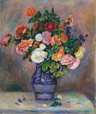 Renoir (Flowers in a Vase, c.1880) Canvas Art Print Reproduction (25.2x21 in) (64x53 cm)