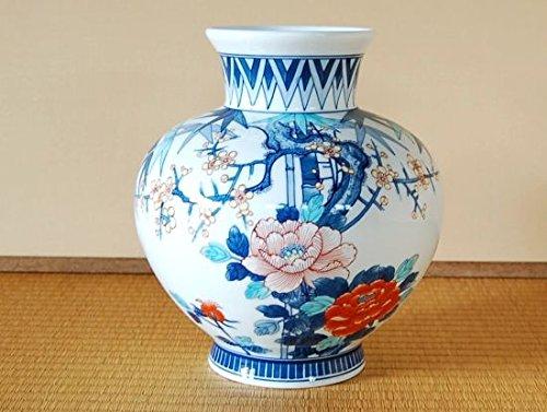 有田焼 竹梅牡丹(小)かぶ花瓶(木箱入)【サイズ】径22cm×高さ22.5cm B018XQ89CI