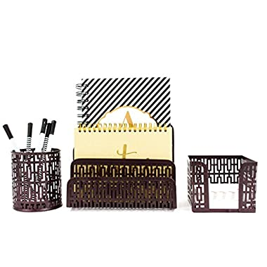 Blu Monaco Desk Organizer Office Accessories Set - Letter Sorter , Pencil Case and Sticky Note Holder - Trendy Trellis Bronze