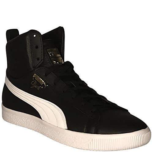 new arrival ff09f 79542 Puma Clyde Mid Core Foil Mens Black Leather High Top Lace Up ...