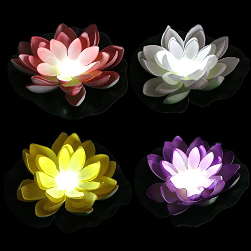 Pack of 4, Battery Operated Mixed Color Lotus-White LED, Water Floating Lily Flower, Flower Night Lamp for Pool Garden Fish Tank Wedding Or Party Decoration