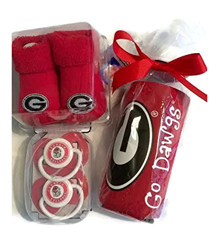 Georgia Bulldogs Gift (Georgia Bulldogs Baby Booties Gift Set Red - BPA Free Baby Bottle with UGA Koozie 2 Pacifiers Toxin-Free NCAA Licensed Collegiate Infant Socks Baby Bulldawgs)