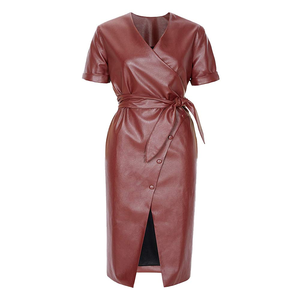 9dab46a66131 Mint Limit Women Faux Leather Bodycon Dress Sexy Skinny Short Sleeve Midi  Dresses at Amazon Women's Clothing store: