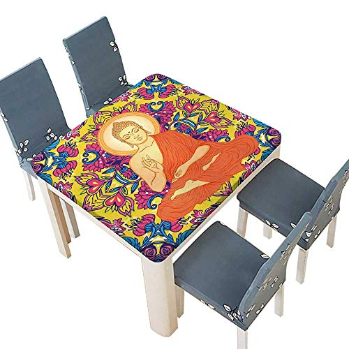 PINAFORE Table in Washable Polyeste Bouddha Assis sur Mandala orner Rond Table Cover 37.5 x 37.5 INCH (Elastic Edge)]()