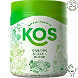 KOS Organic Greens Blend | Amazing Tasting Alkalizing Green Superfood Powder | Hydrating, Digestive Prebiotic Greens Powder | Plant Based Ingredients, 285g, 30 Servings
