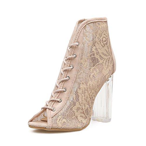transparentes tacón alto romano hilados expuestos frío lace arranca gruesos ZHZNVX zapatos de correa de en net correa mujer white sandalias con Sexy OWnnTUF
