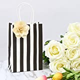 Road 5.25x3.25x8 Inches 50pcs Black Stripes Kraft Paper Bags, Retail bag, Merchandise Bag, Gift Bag, Party Bag