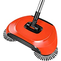 Amyove Hand Push Type Sweeping Machine Handhold Magic Broom Dustpan Mop Household Cleaning Tool red
