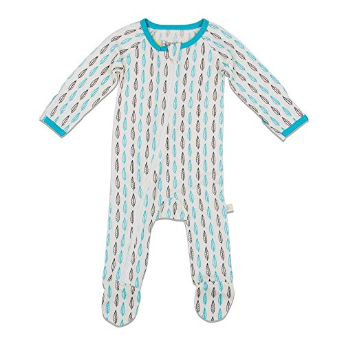 BESTAROO Baby Boy Blue Leaves Zippered Footie