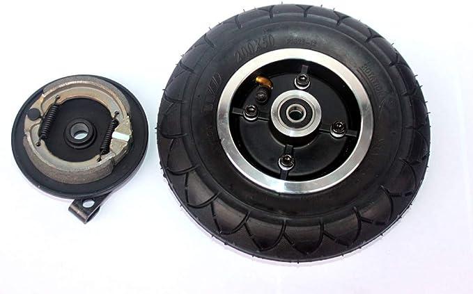 L-faster Rueda s/ólida de 8 Pulgadas con Freno de Tambor 200x50 Rueda no neum/ática con Freno mec/ánico Scooter Control de Estabilidad de Marcha Neum/ático Plano Solid Tire