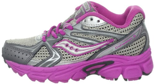 magenta little Shoe Cohesion Grey Kid big 6 silver Saucony Lace Girls Running Kid YUqxPZn