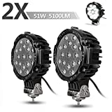 "2PACK 7"" LED Offroad Pod Lights Bar 51W with Mounting Bra..."