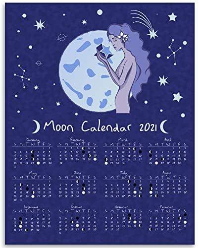 Amazon.com: 2021 Calendar - Moon Phases Lunar Calendar ...