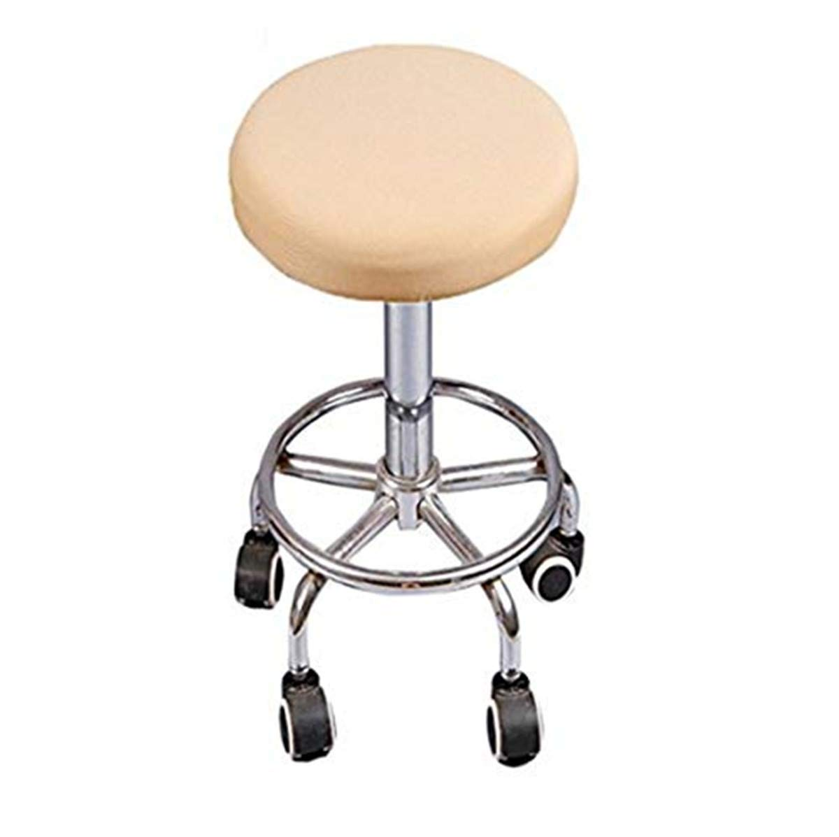 Soft Stretchable Round Bar Stool Chair Covers Protectors 14 Inch Pack of 2 (Champagne)