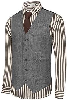 Hanayome Men's Slim Fit Classic Tweed Suit Vest