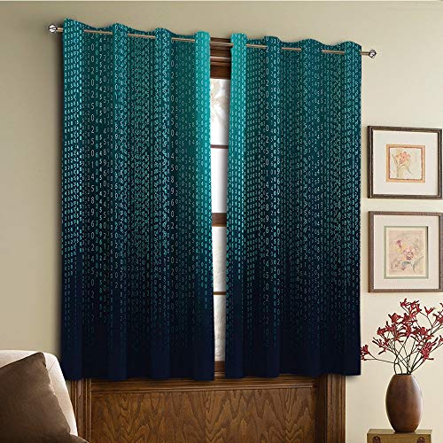 (YCHY Curtains/Vintage Lace Window Curtain/Grommet Top Blackout Curtains/Thermal Insulated Curtain for Bedroom and Kitchen-Set of 2 Panels(Programmer Futuristic Matrix Display with Algorith))