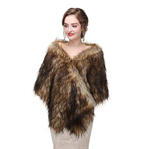 Limeng Women Evening Party Faux Fur Coat Wedding Cloak Cape Brown Shawl ()