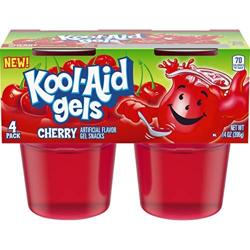 JELL-O Kool-Aid Cherry Gels Gelatin, 14 oz Cup (Pack of 6)