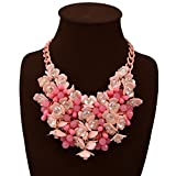 HoBST Women Hot Pink Statement Necklaces Pendants Transparent Big Resin Crystal Flower Choker Necklace