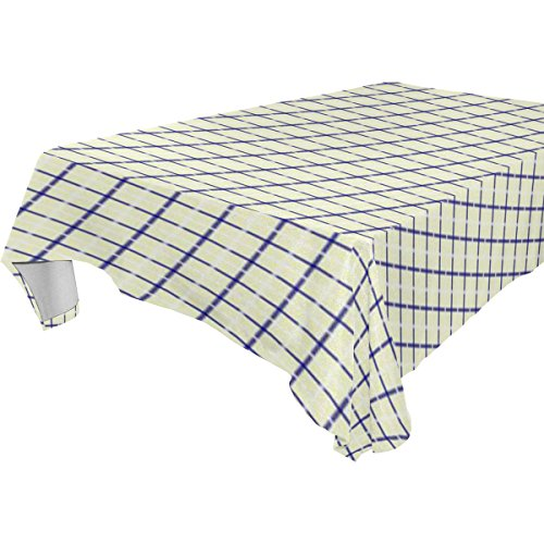 (WDYSECRET Yellow Blue Grid Twill Polyester Printing Tablecloth 54x72(in))