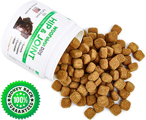 - Hip and Joint Supplement for Dogs - Glucosamine Chondroitin for Dogs with Organic Turmeric and MSM - Supports Healthy Joint Function, Comfort, Mobility and Pain Relief | 120 Soft Chews | Made in USA