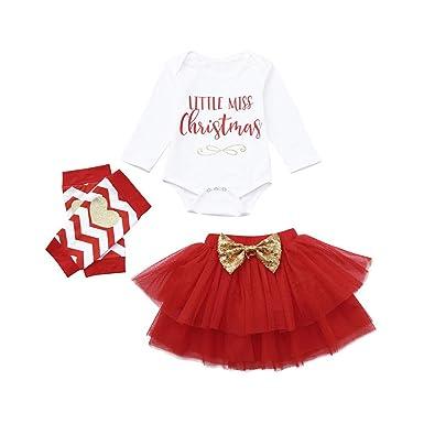 d2c5e05633ad1 LianMengMVP 3 Pcs Bébé Fille Déguisement Noël Vêtement de Baptême Body  Nouvelle Année Combinaison à Manche