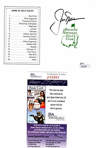 Jack Nicklaus Signed - Autographed Masters Scorecard - 5x Champion - JSA Certificate of Authenticity by Real Deal...