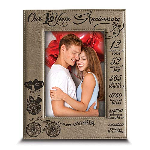 BELLA BUSTA - Our 1st Year Anniversary-2018->2019-Months, Week, Days, Hours, Minutes -Engraved Leather Picture Frame for Couple-Our 1st (4