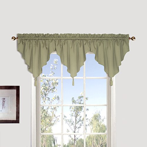 United Curtain Sterling Woven Ascot Valance, 40 by 24-Inch, Sage (Stripe Ascot Valance)