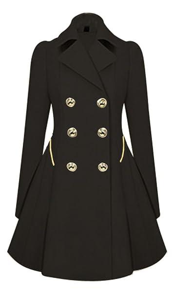 24875cc59473 SMITHROAD Damen Elegante Jacke Mantel Zweireihige lange Herbst Trenchcoat,  Größe 36   Herstellergröße M, Farbe Schwarz  Amazon.de  Bekleidung