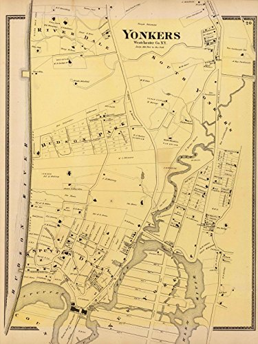 County Atlas | 1868 Yonkers, N.Y. | Historic Antique Vintage Map - Yonkers County