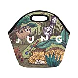 InterestPrint Neoprene Lunch Bag Unique Design Wild life in jungle with different animals Best Lunch Box/Lunch Tote Bags Keeps Lunch Fresh for Women, Adults, Kids