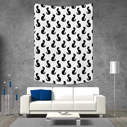 smallbeefly Cat Wall Hanging Tapestries Silhouette a Kitten Monochrome Feline Pattern House Pet Illustration Halloween Large tablecloths 51W x 60L INCH Black White -