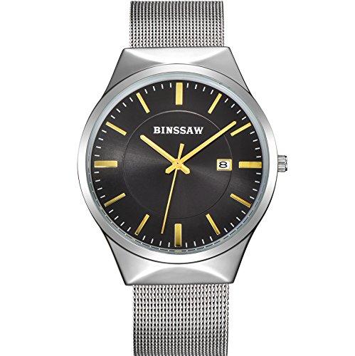 BINSSAW Men Quartz Watch Luxury Top Brand Fashion Mesh Delicate Business Stainless Steel Wrist Watches