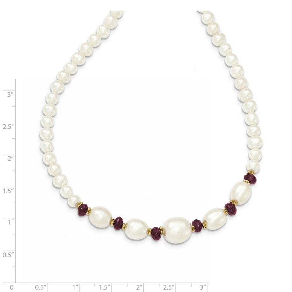 ICE CARATS 14k Yellow Gold Freshwater Cultured Pearl Faceted Red Garnet Bead Chain Necklace Fine Jewelry Gift Set For Women Heart by ICE CARATS (Image #4)