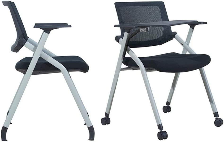 Training Chair Training Chair with Writing Board Table and Chair Integrated Folding Office Teaching Chair with Tablet Arm Color : White Pulley, Size : 99x62x30cm