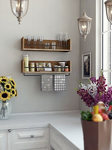 Amazon.Com: Rustic Kitchen Wood Wall Shelf With Metal Rail Also
