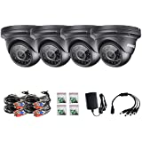 ANNKE 4-Packed HD-TVI 960P Home Security Surveillance Cameras, 1280*960p Day Night Vision, IP66 Weatherproof Housing (Black, better than 720p)