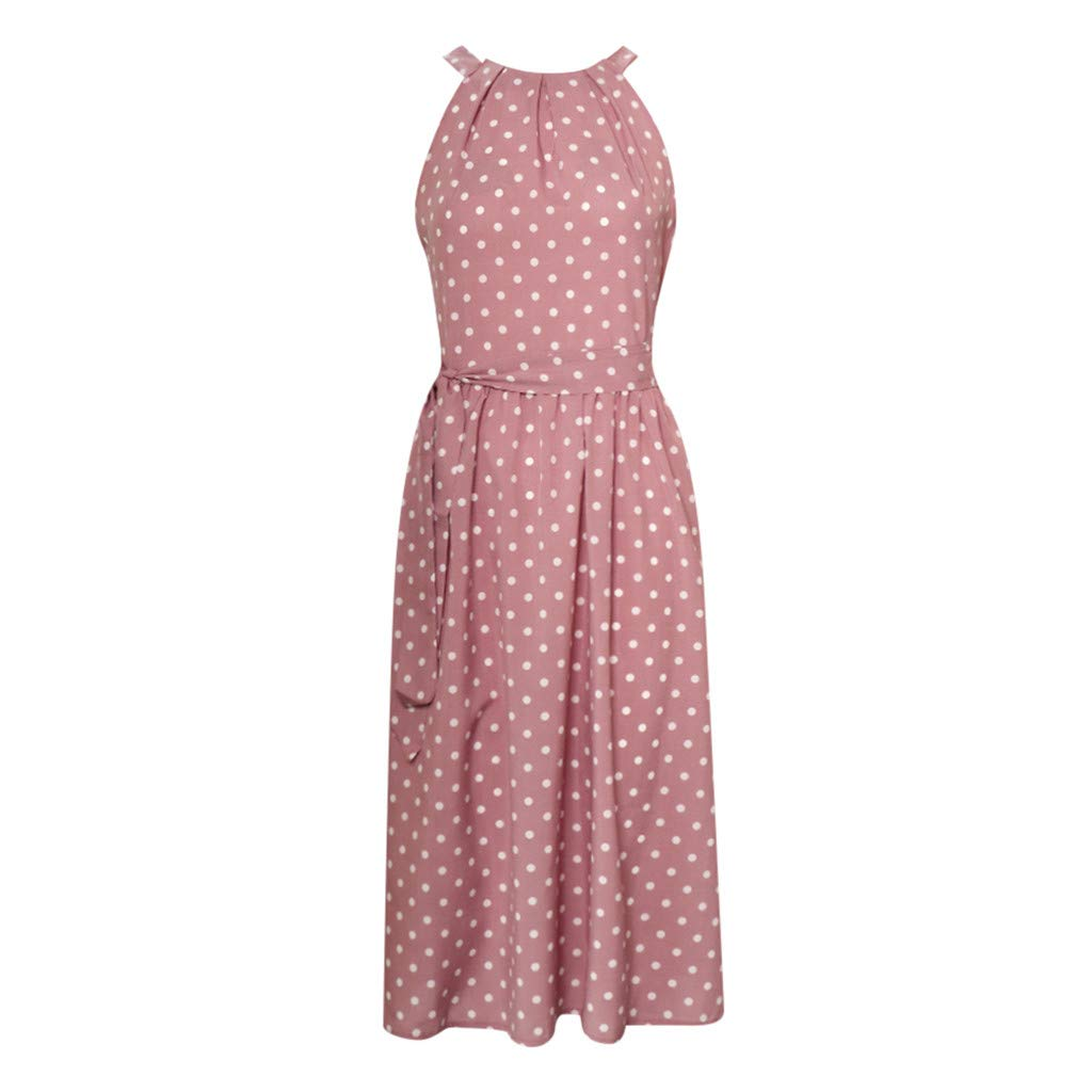 Clearance Swiusd Womens Polka Dot Print Midi Dresses Casual Flowy Sleeveless Halter Loose Swing Party Dresses with Belt