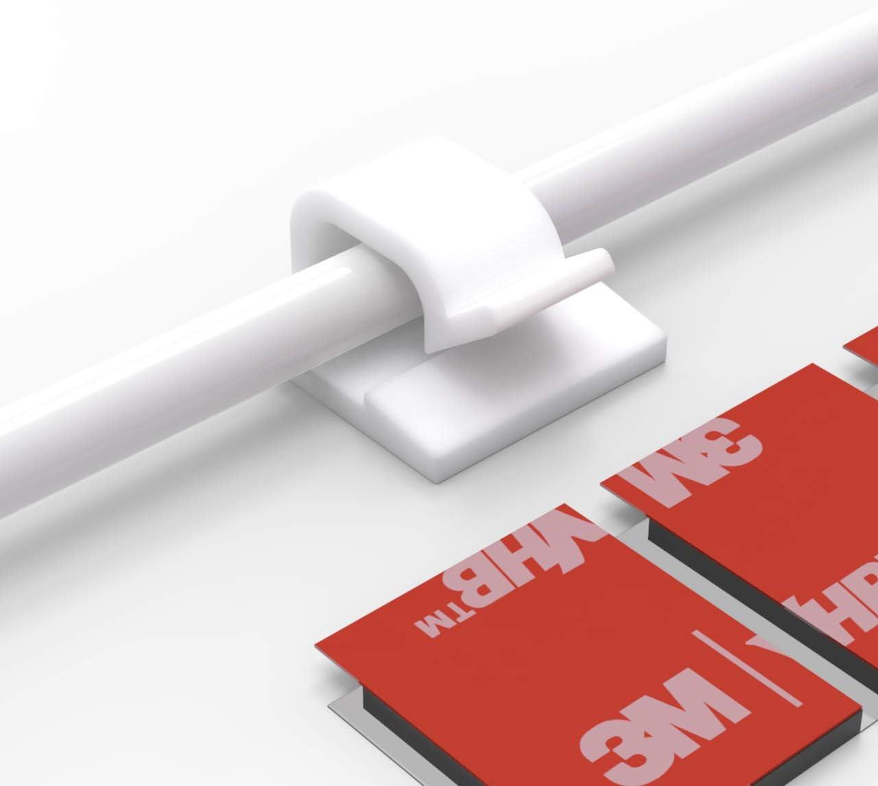 clips de alambre adhesivos escritorio y oficina port/átil PC Ethernet 100 clips autoadhesivos para la gesti/ón de cables organizadores de cables SOULWIT soporte para cable de TV