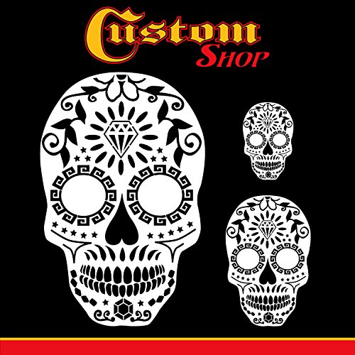 Custom Shop Airbrush Sugar Skull Day of The Dead Stencil Set (Skull Design #13 in 3 Scale Sizes) - Laser Cut Reusable Templates]()