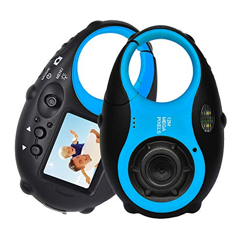 (ISHARE Kids Camera Cute Camera 12MP 4× Digital Zoom Digital Camera with Video for Girls and Boys,Blue(Kids Camera with Photo Frame))