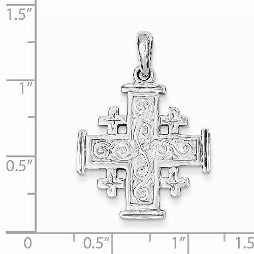 Or blanc 14 carats Pendentif Croix de Jérusalem-Dimensions :  22 x 22 mm-JewelryWeb