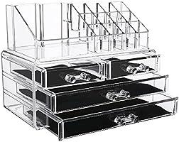 EASEHOLD organizer porta trucchi, per conservazione dei trucchi, 4 cassetti, in cristallo trasparente impermeabile, organizer per Make Up, cosmetici, per bagno, tavolo, studentato