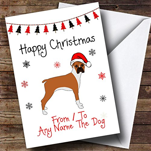 Pet Christmas Cards Personalized - Boxer From Or To The Dog Pet Personalized Christmas Holiday Greetings Card