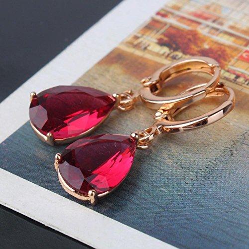 [Anzona Earring Europe Fashion 18K Gold Plated Earring Garnet Crystals Zircon Drop Dangle Earrings for Women E010b] (Garnet Swarovski Austrian Crystal)