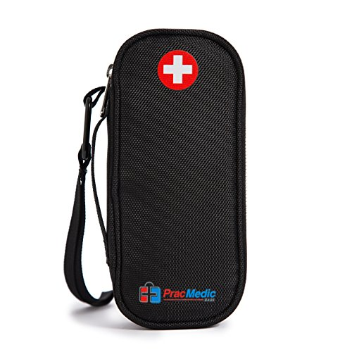 EPIPEN Case - fits 2 Epi Pens or Auvi-Q, Asthma Inhaler, generic Benadryl, Nasal Spray, Eye Drops, Medicine. INSULIN Case - fits 2 Insulin Pens, Vials, Syringes, Ice Packs (Black) - Medicine Mans Eye