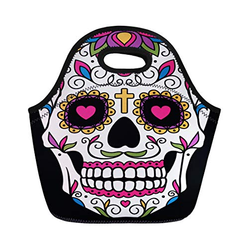 Semtomn Neoprene Lunch Tote Bag Red Day Mexican Sugar Skull Yellow Dead Floral Halloween Reusable Cooler Bags Insulated Thermal Picnic Handbag for Travel,School,Outdoors,Work -