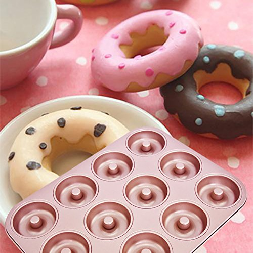 Rose Gold 12-Cup Non-stick Carbon Steel Multi-shape Cake Baking Pan for Donuts Cheesecake Muffin Quiche by Damast (Image #3)